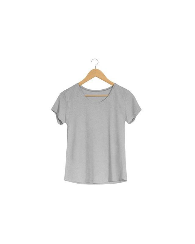 Camiseta Básica Feminina Cinza em Malha VIscolycra