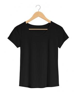 Camiseta Básica Feminina Preta em Malha VIscolycra