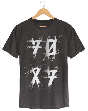 70x7 - Camiseta Masculina Chumbo Meslca em Malha Algodão