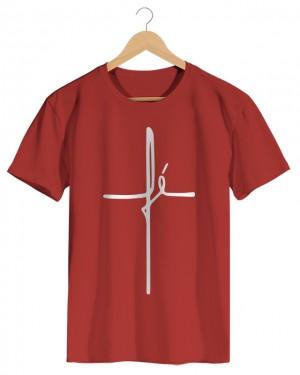 Cruz de Fé - Camiseta Masculina Vermelho em Malha Algodão