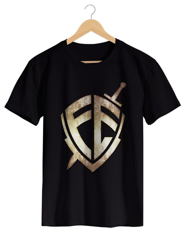 Escudo da Fé - Camiseta Masculina Preta em Malha Algodão