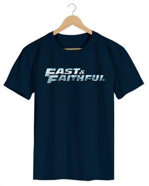 Fast Faithful - Camiseta Masculina Azul Marinho em Malha Algodão