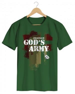 God's Army - Camiseta Masculina Verde Militar em Malha Algodão