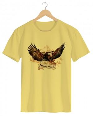 Isaías - Camiseta Masculina Amarela em Malha Algodão
