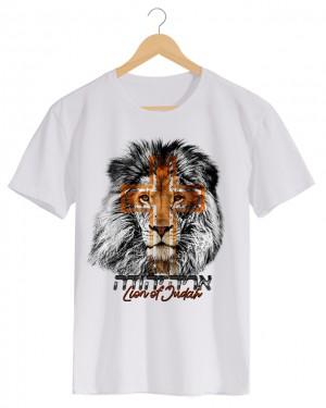 Lion of Judah - Camiseta MasculinaBranca em Malha Algodão