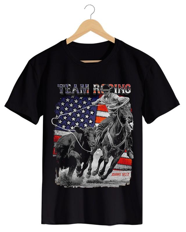 Team Roping - Camiseta Masculina Preto em Malha Algodão