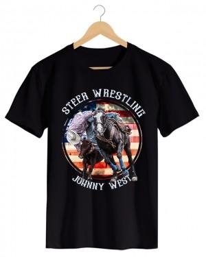Steer Wrestline - Camiseta Masculina Cor em Malha Algodão
