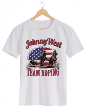 Team Roping 2 - Camiseta Masculina Cor em Malha Algodão