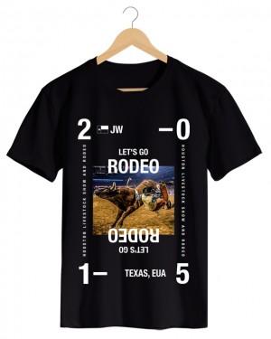 Rodeo - Camiseta Masculina Preta em Malha Algodão