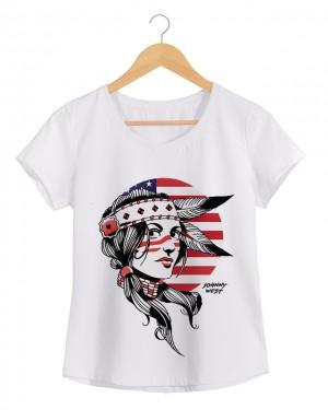 Native Woman - Camiseta Feminina Cor em Malha Algodão