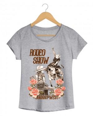 Rodeio Show - Camiseta Feminina Branca em Malha Algodão