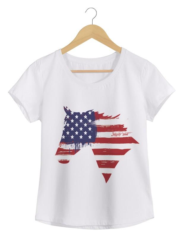 North America - Camiseta Feminina Branca em Malha Algodão