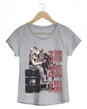 1 dream 2 hearts - Camiseta Feminina Cinza Mescla em Malha Algodão