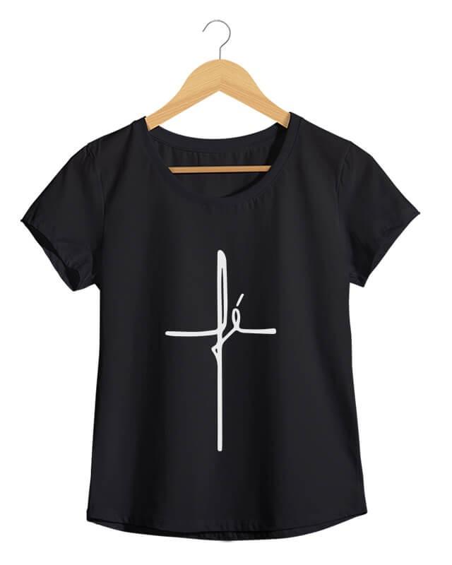 Cruz de Fé - Camiseta Feminina Preta em Malha Algodão