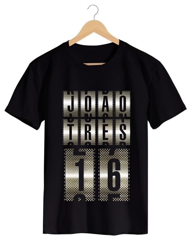 Jo 3-16 - Camiseta Masculino Preta em Malha Algodão