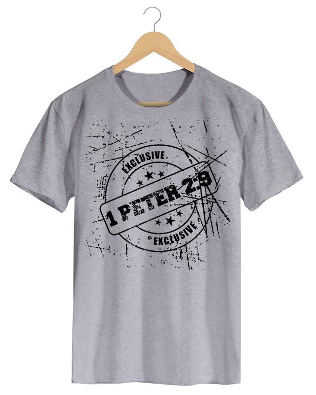 1 Peter 2.9 - Camiseta Masculino Cinza Mescla em Malha Algodão