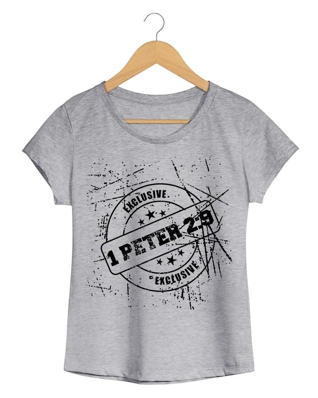 1 Peter 2.9 - Camiseta Feminina Cinza Mescla em Malha Algodão