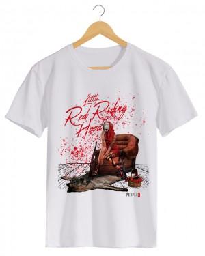 Little Red Riding Hood - Camiseta Masculino Branco em Malha Algodão