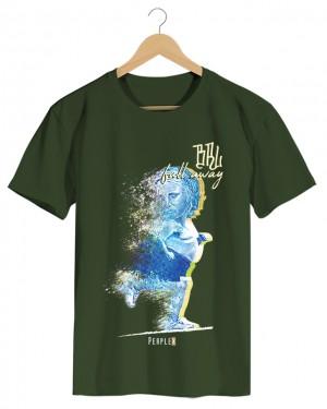 BRL Fall Away - Camiseta Masculina Verde Militar em Malha Algodão