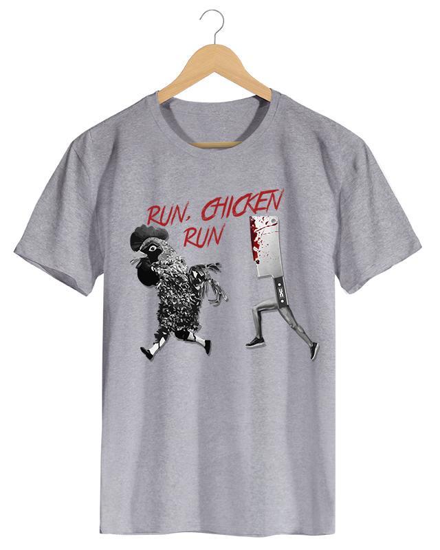 PPX015 Run Chicken - Camiseta Masculina Preta em Malha Algodão