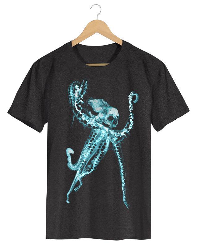 PPX018 -OCTOPUS Polvo-X - Camiseta Masculina Preta em Malha Algodão