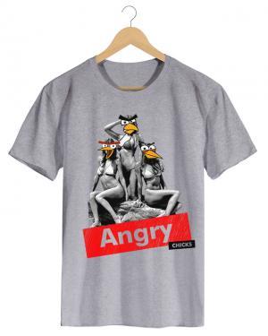 PPX019 Angry Chick - Camiseta Masculina Preta em Malha Algodão