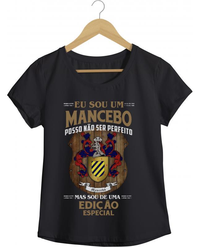 Brasão Mancebo - Camiseta Masculina Preta em Malha Algodão